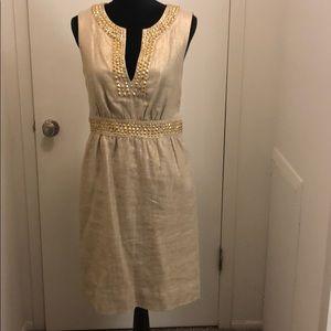 Gold Linen Kate Spade Embellished Dress